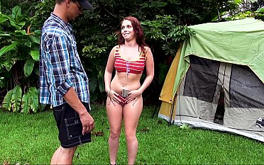 Two sluts pitch a tent